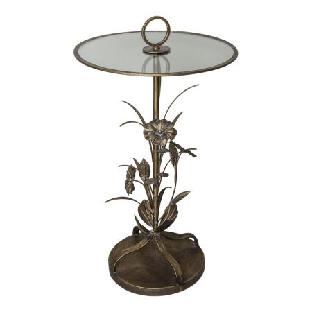 Bryz Gold metal glass top sidetable leaves round